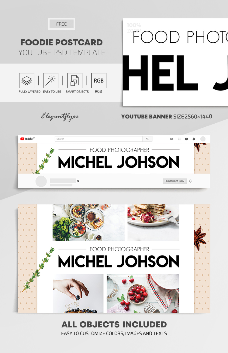 Foodie Postcard – Free Youtube Channel banner PSD Template