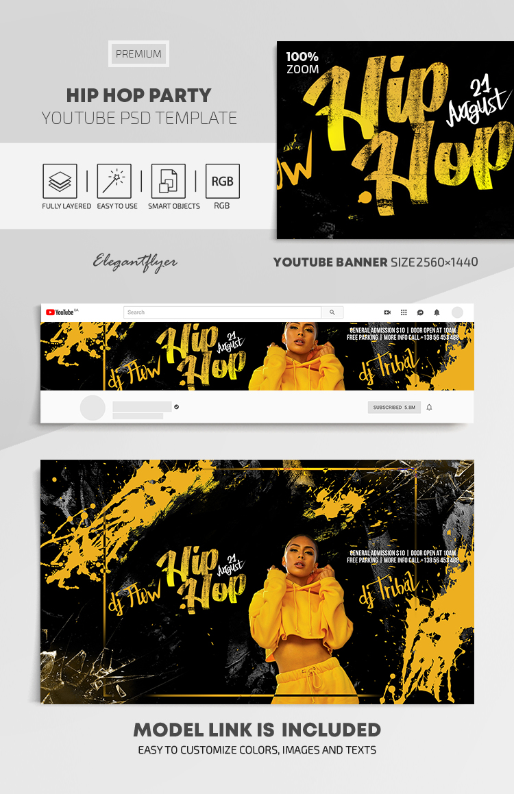 Hip Hop Party – Youtube Channel banner PSD Template