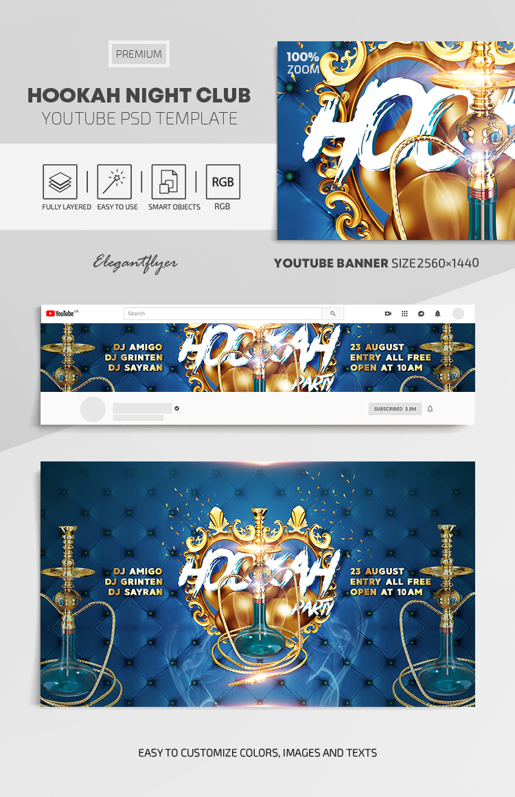 Hookah Night Club – Youtube Channel banner PSD Template