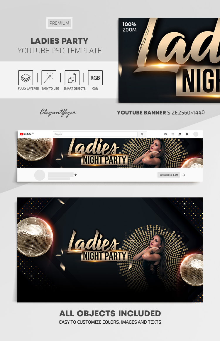 Ladies Party – Youtube Channel banner PSD Template