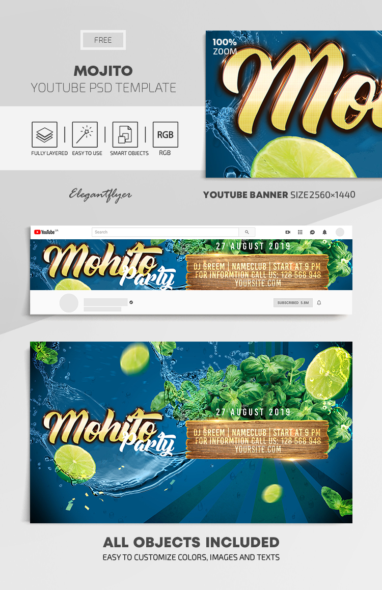 Mojito Club Party – Free Youtube Channel banner PSD Template