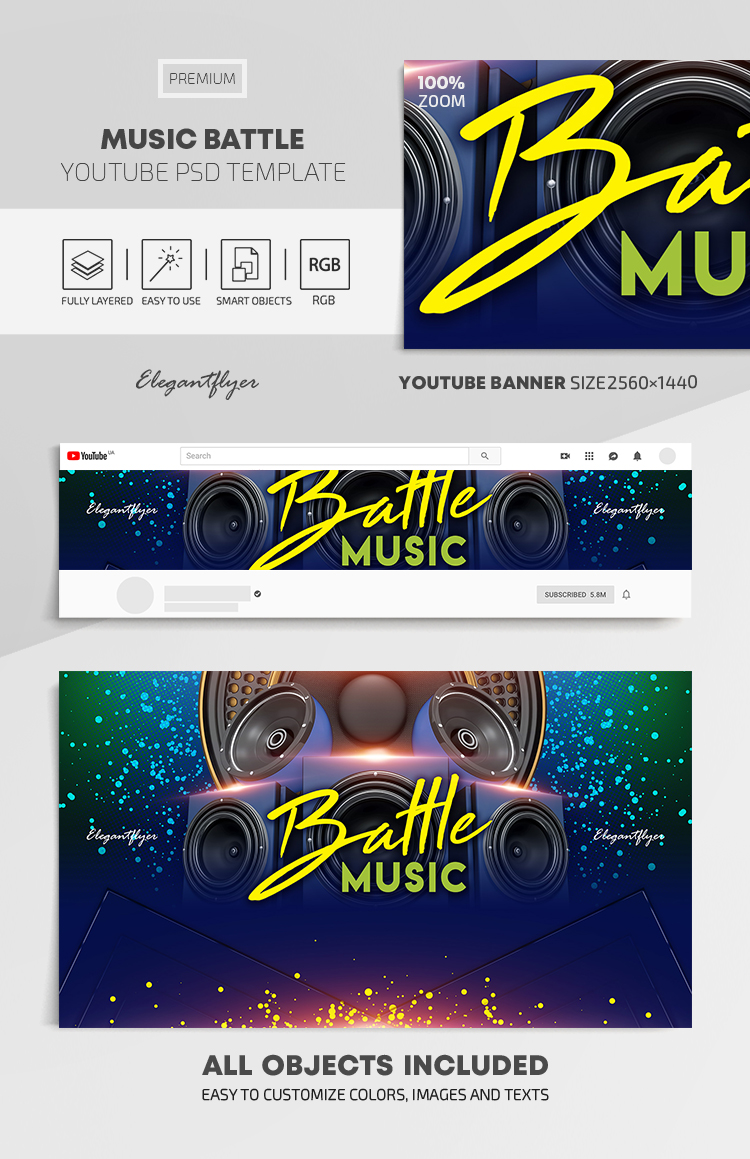 Music Battle – Youtube Channel banner PSD Template