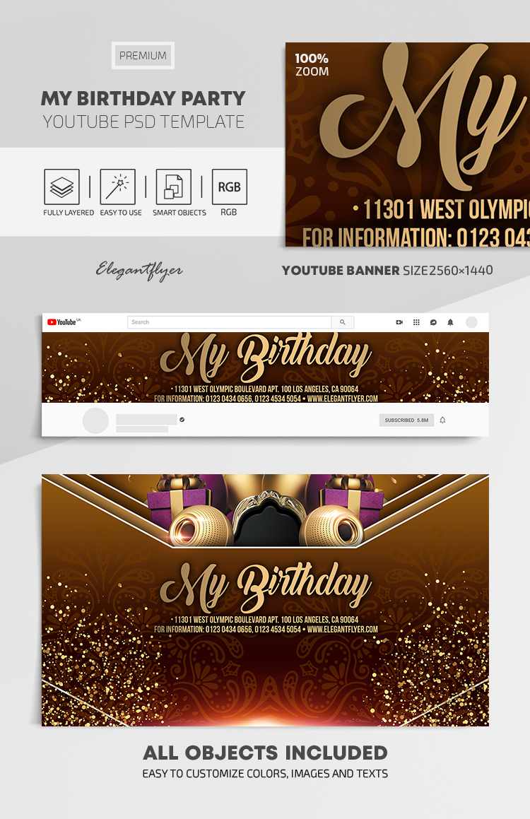 My Birthday Party – Youtube Channel banner PSD Template