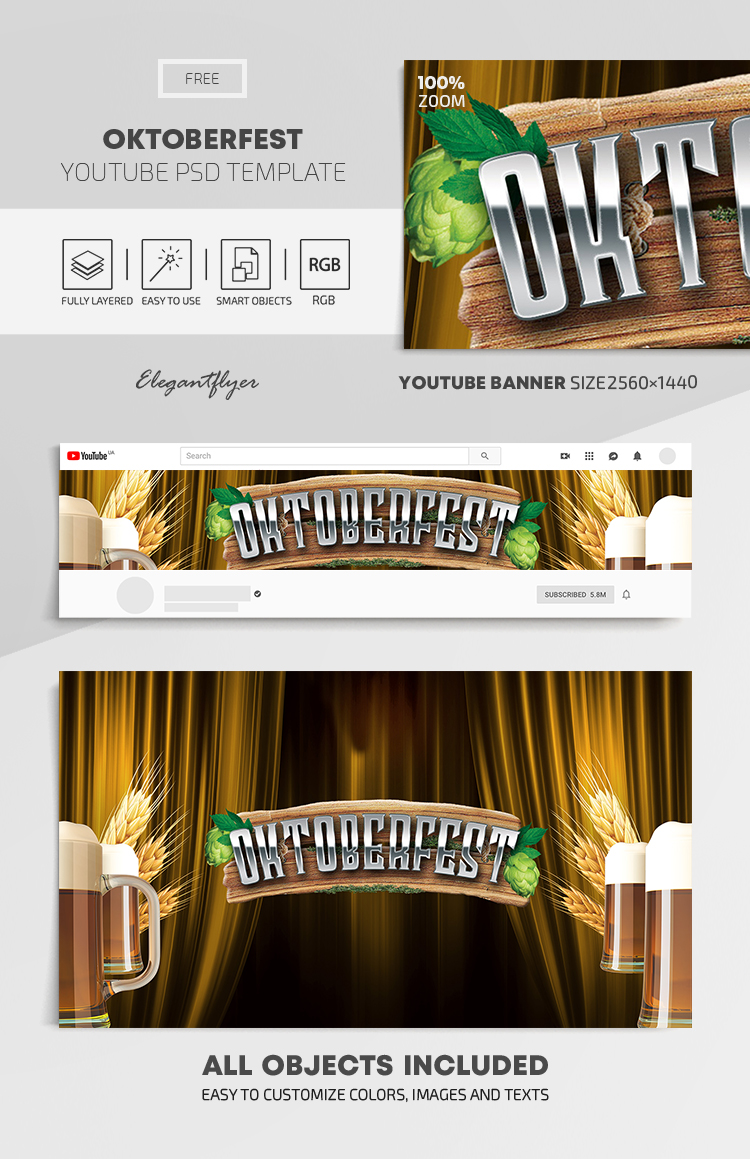 Oktoberfest – Free Youtube Channel banner PSD Template