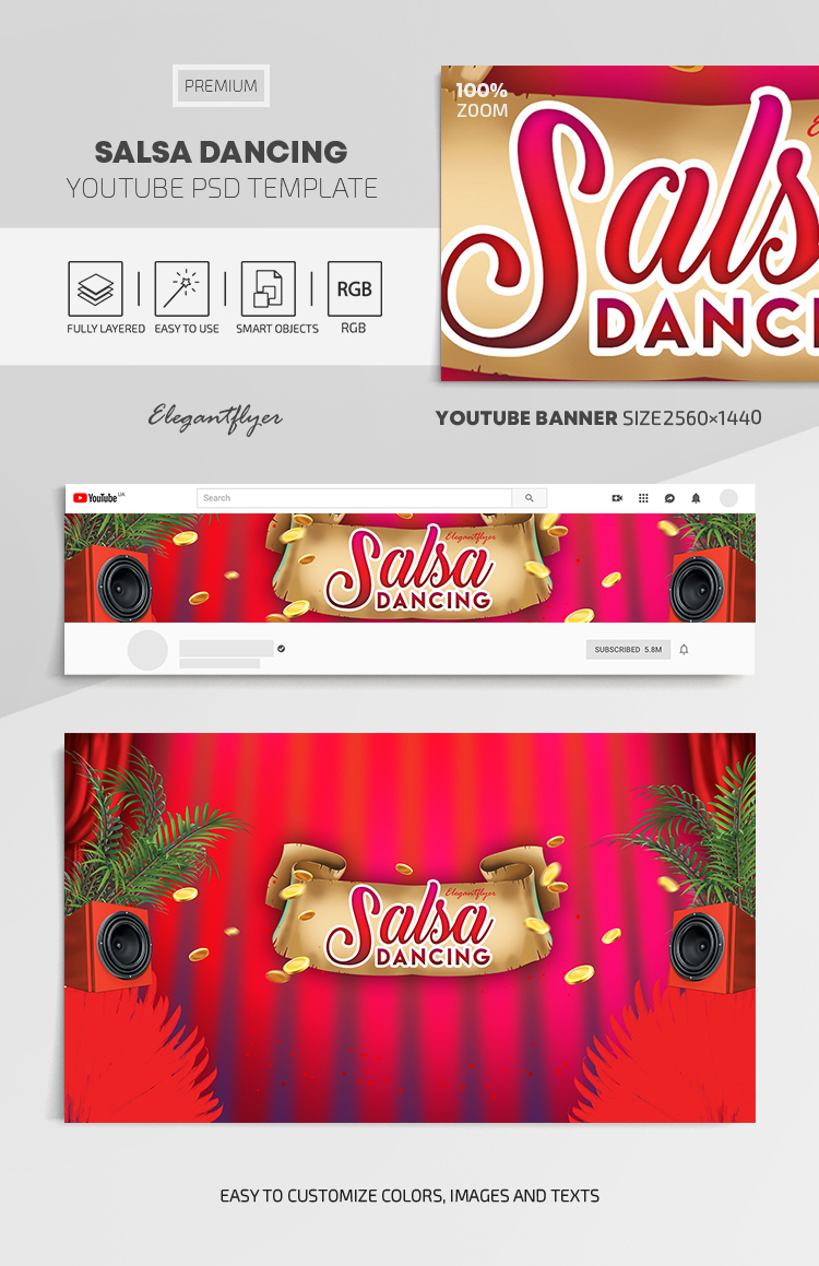 Salsa Dancing – Youtube Channel banner PSD Template