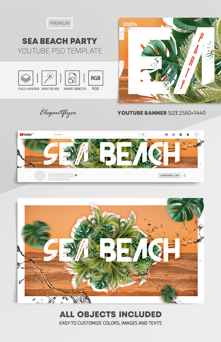 Sea Beach Party – Youtube Channel banner PSD Template