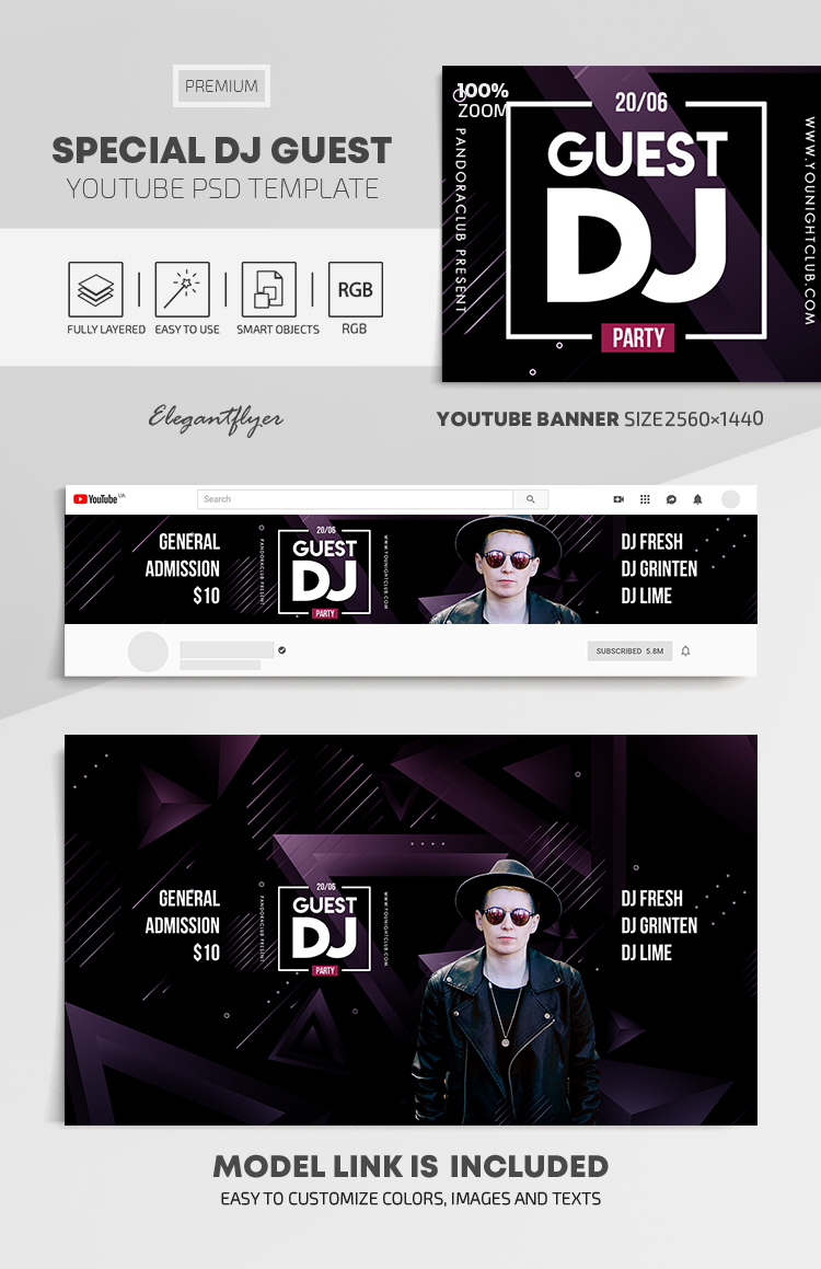 Special Dj Guest – Youtube Channel banner PSD Template