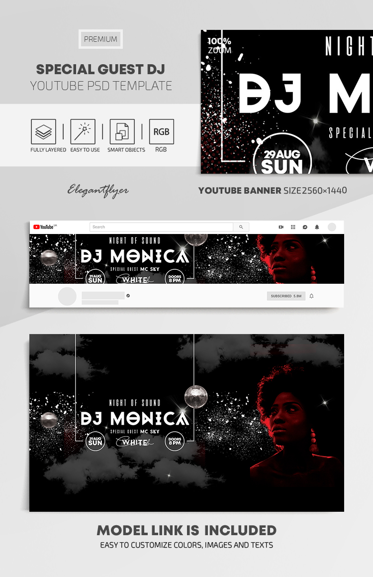 Special Guest DJ – Youtube Channel banner PSD Template