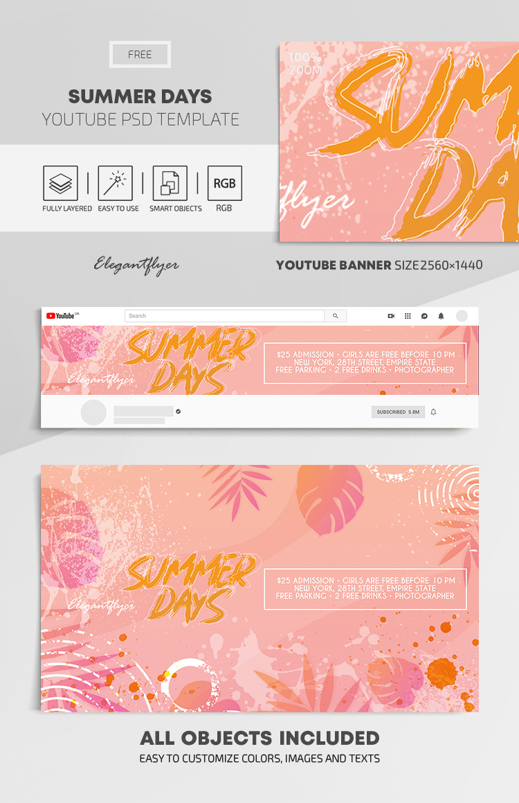 Summer Days – Free Youtube Channel banner PSD Template
