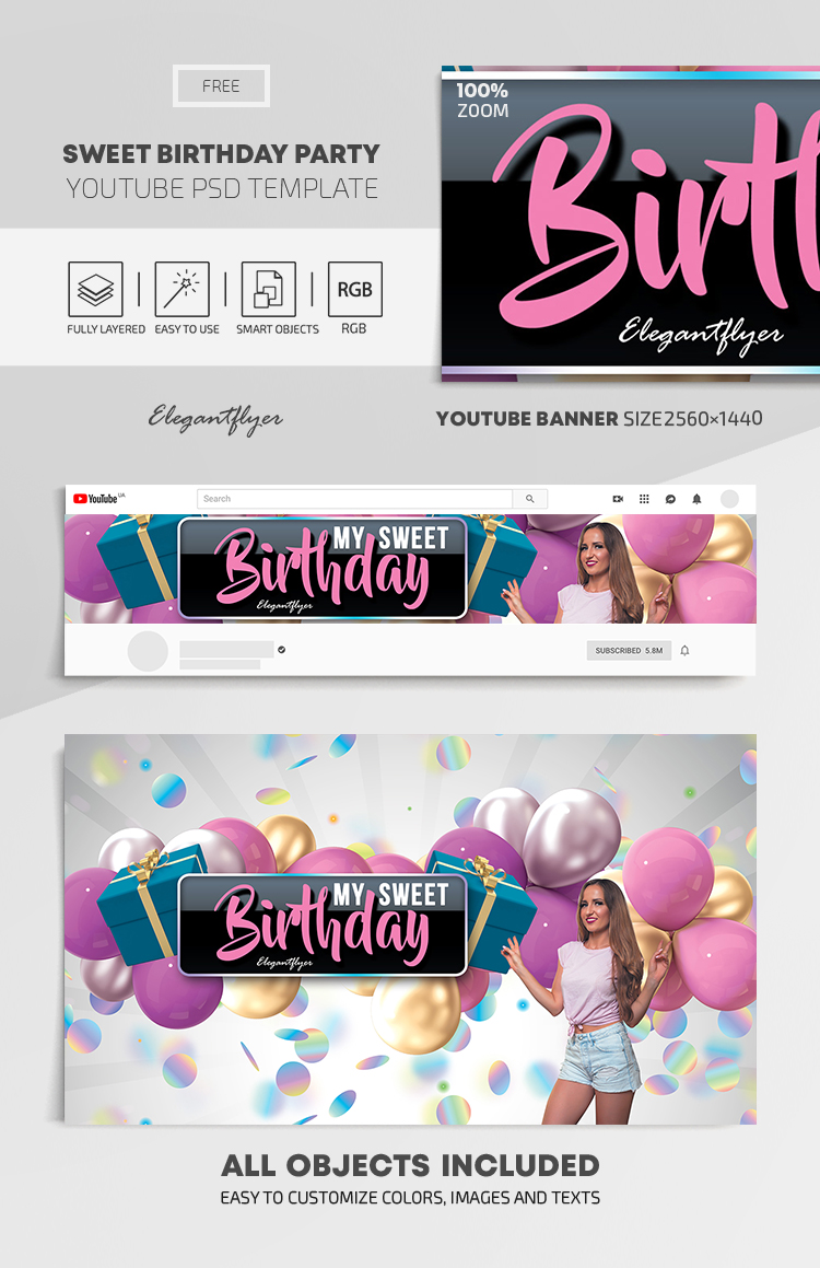 Sweet Birthday Party – Free Youtube Channel banner PSD Template