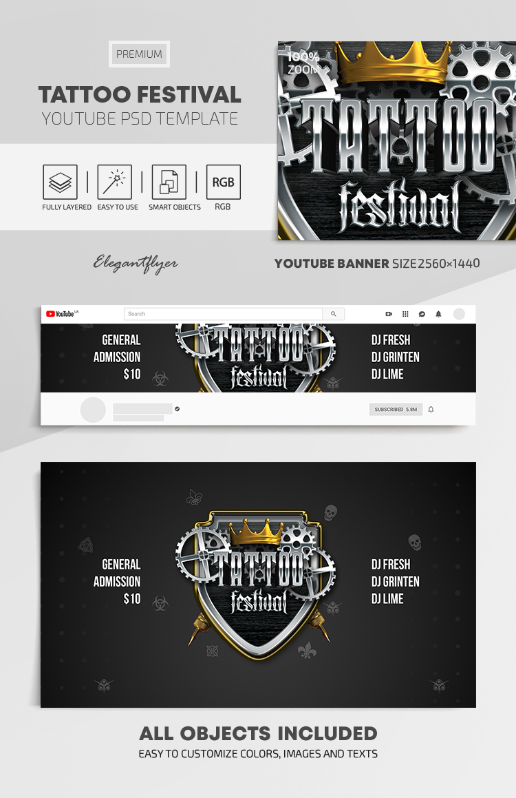 Tattoo Festival – Youtube Channel banner PSD Template