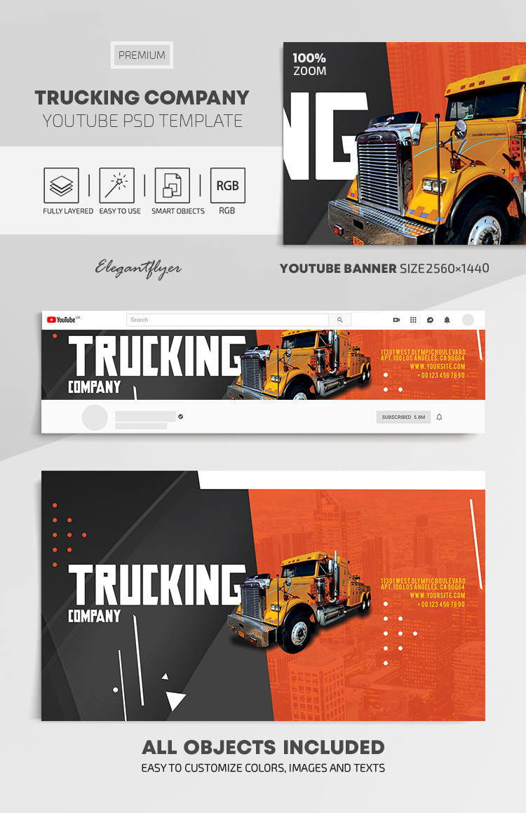 Trucking Company – Youtube Channel banner PSD Template