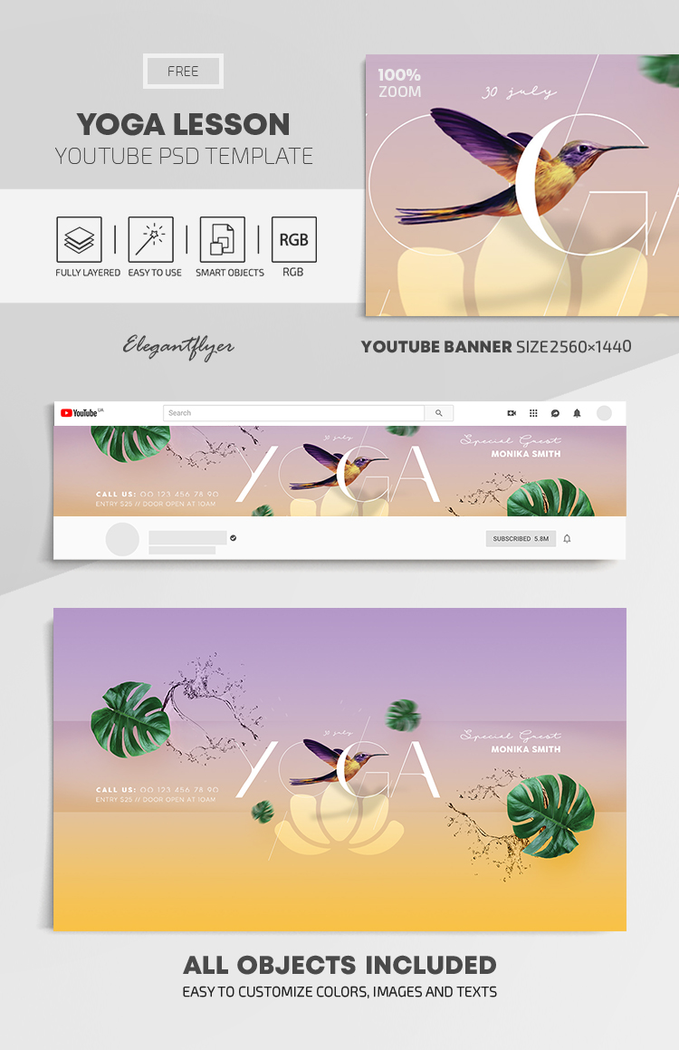 Yoga Lesson – Free Youtube Channel banner PSD Template