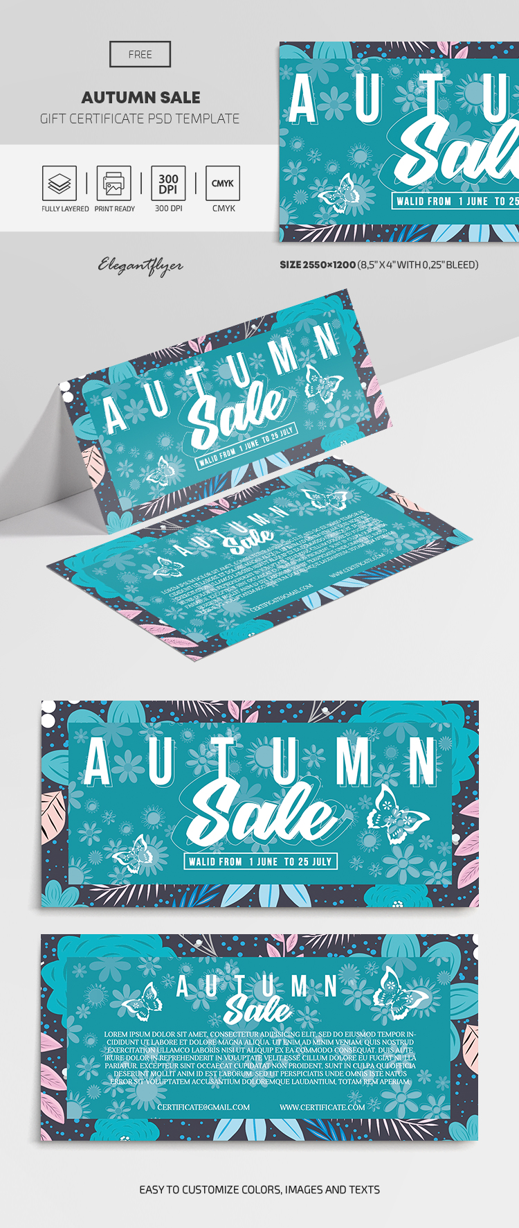 Autumn Sale – Free Gift Certificate Template in PSD
