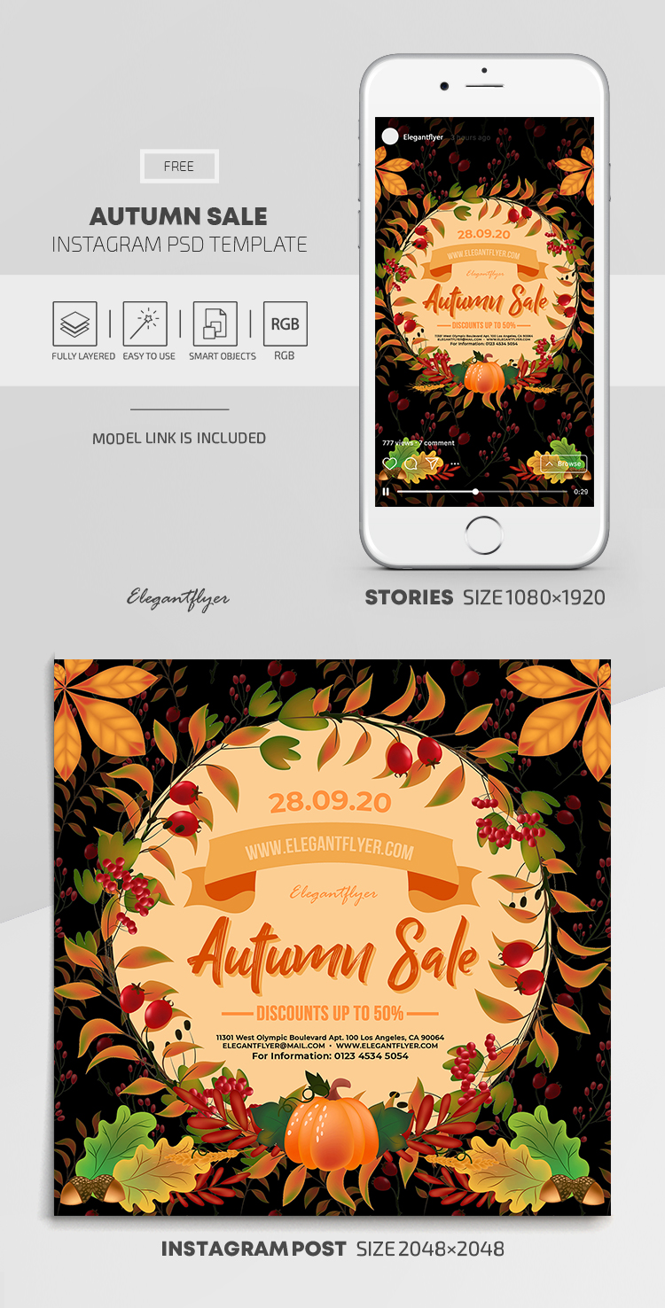 Autumn Sale – Free Instagram Stories Template in PSD + Post Templates