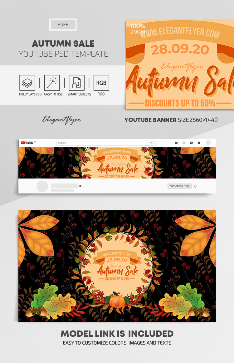 Autumn Sale – Free Youtube Channel banner PSD Template
