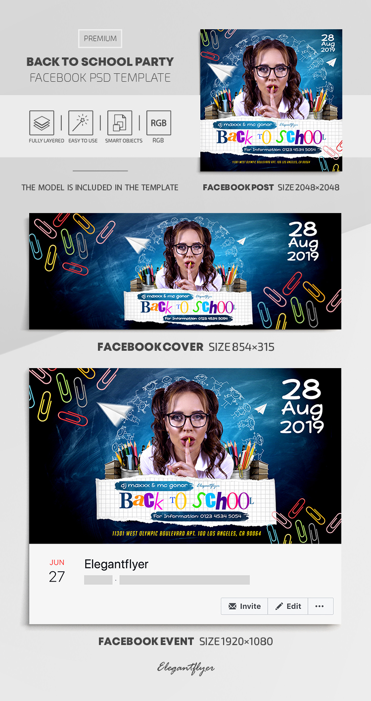 Back To School Party – Facebook Cover Template in PSD + Post + Event cover