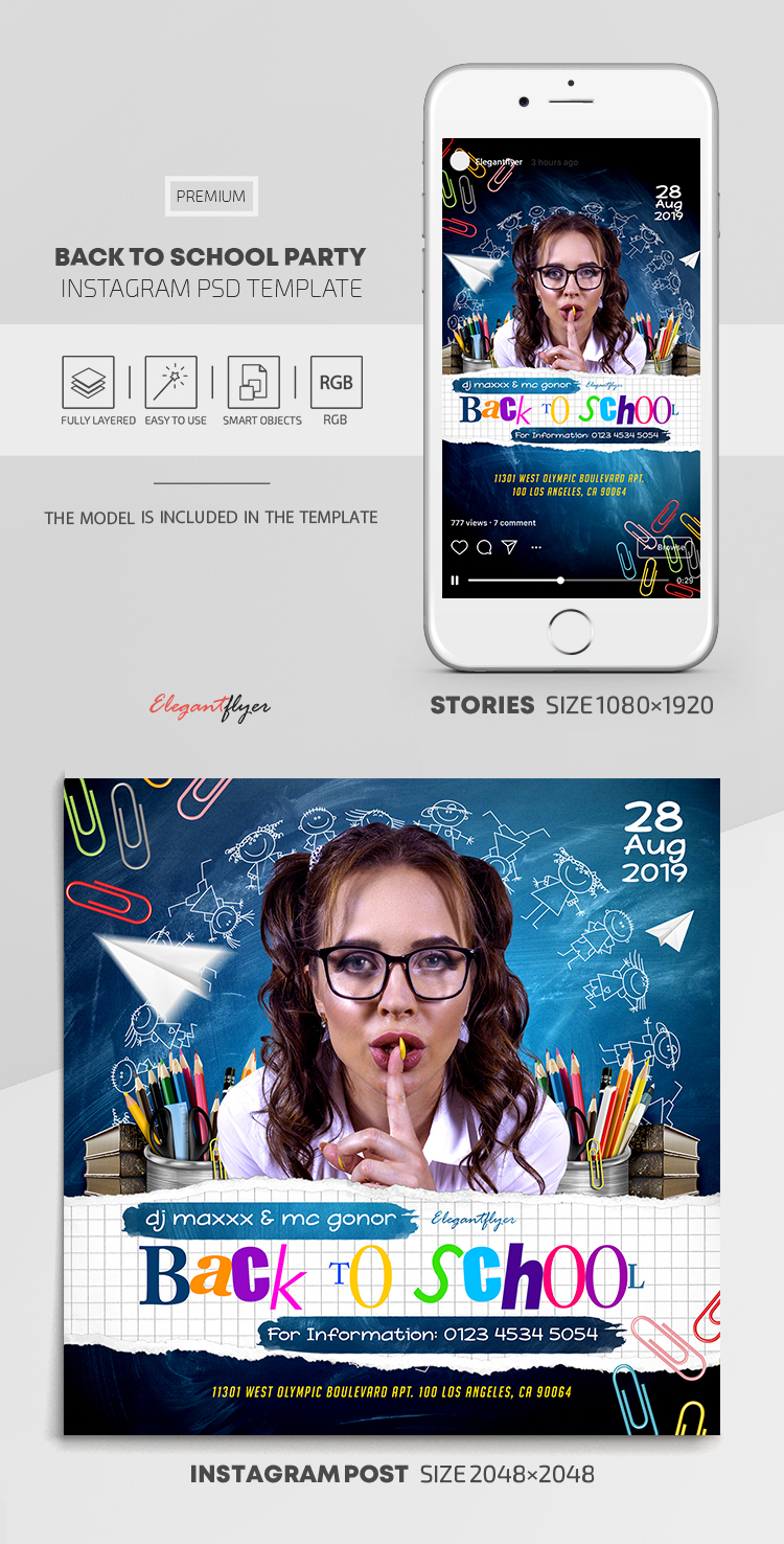 Back To School Party – Instagram Stories Template in PSD + Post Templates