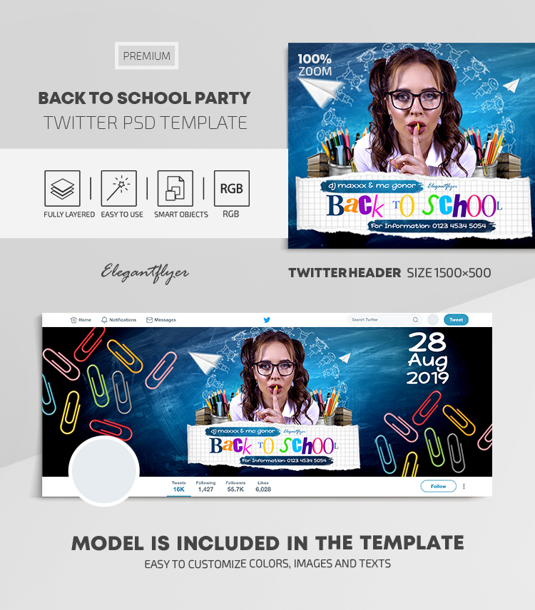 Back To School Party – Twitter Header PSD Template