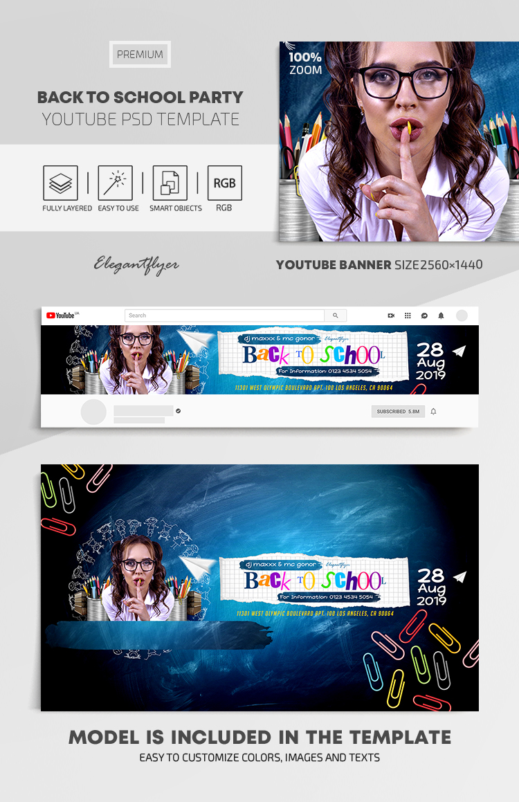 Back To School Party – Youtube Channel banner PSD Template