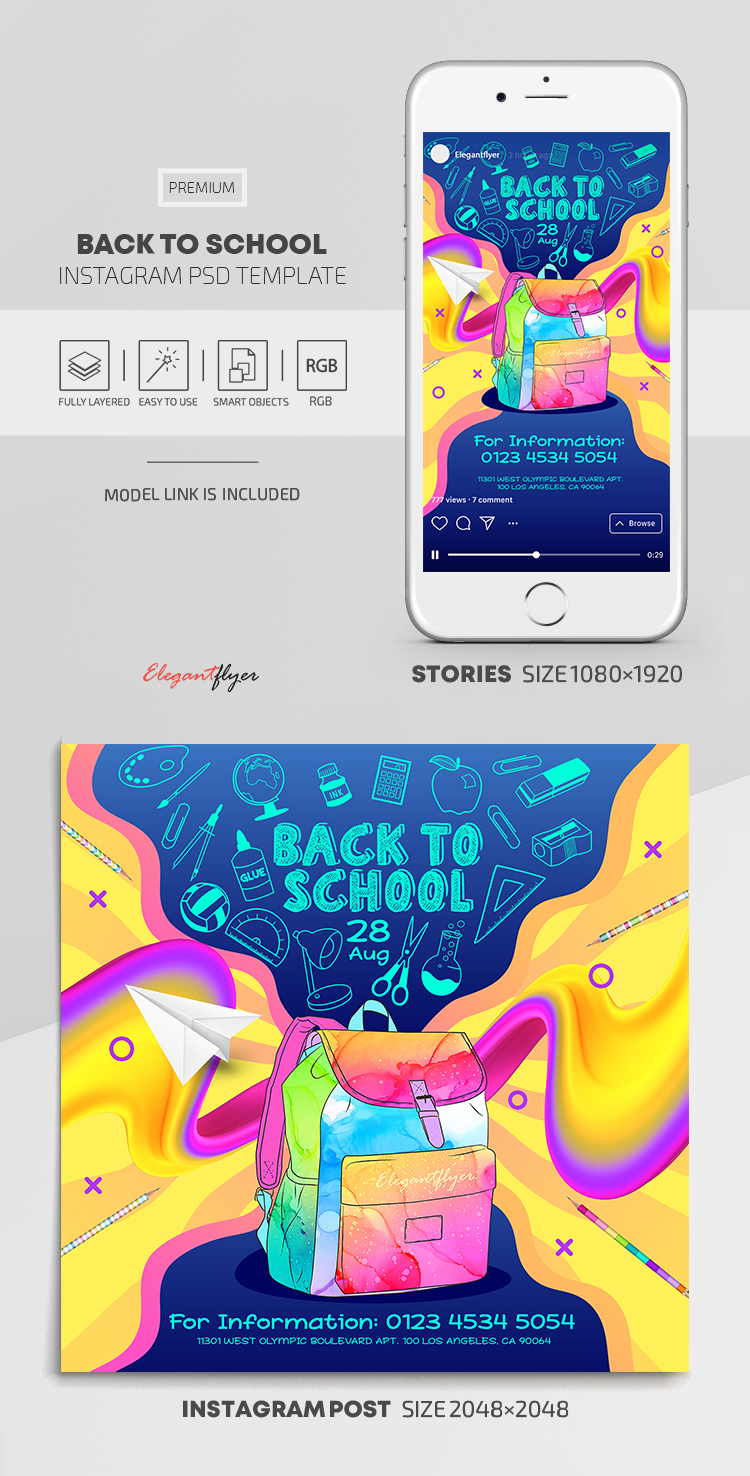 Back to School – Instagram Stories Template in PSD + Post Templates