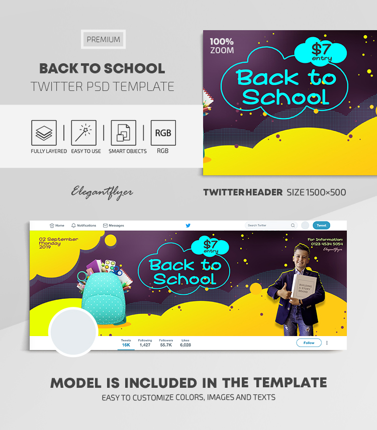 Back to School – Twitter Header PSD Template