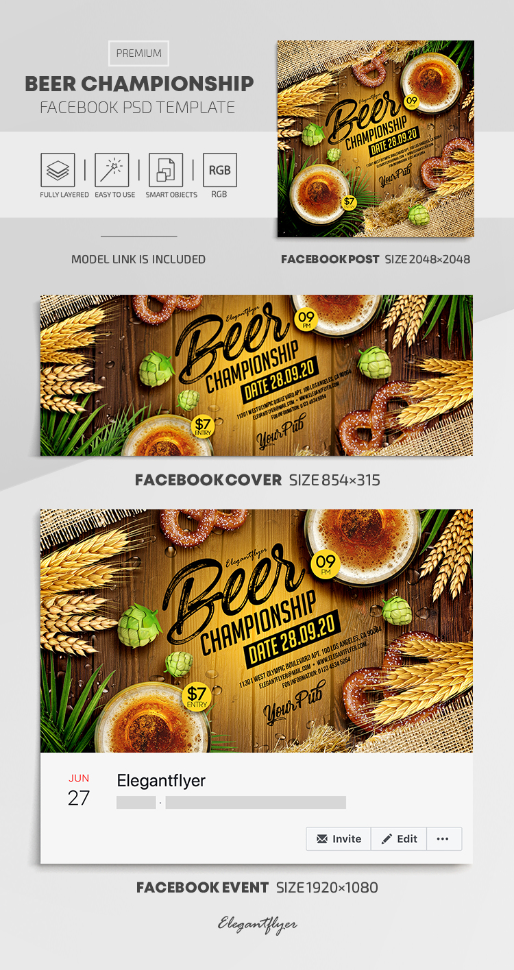 Beer Championship – Facebook Cover Template in PSD + Post + Event cover