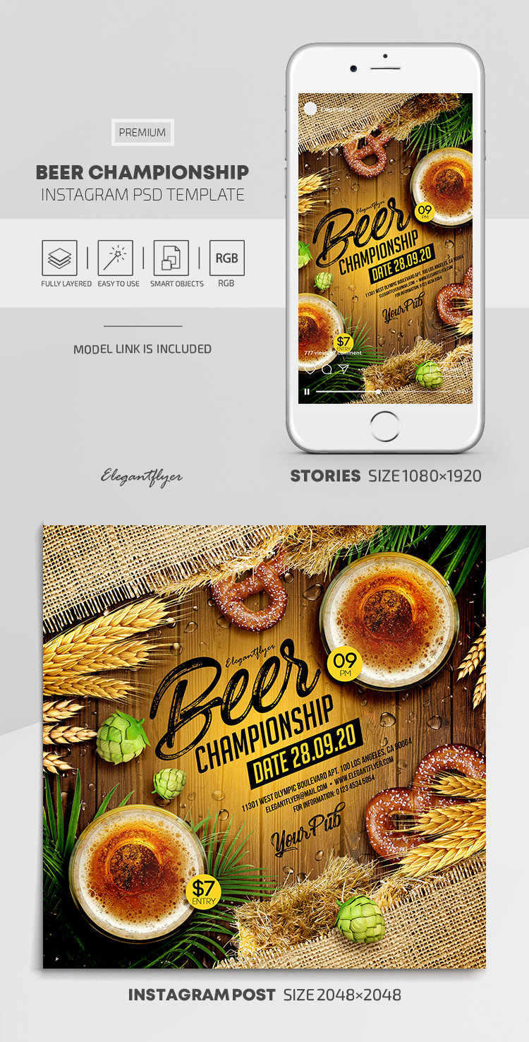 Beer Championship – Instagram Stories Template in PSD + Post Templates