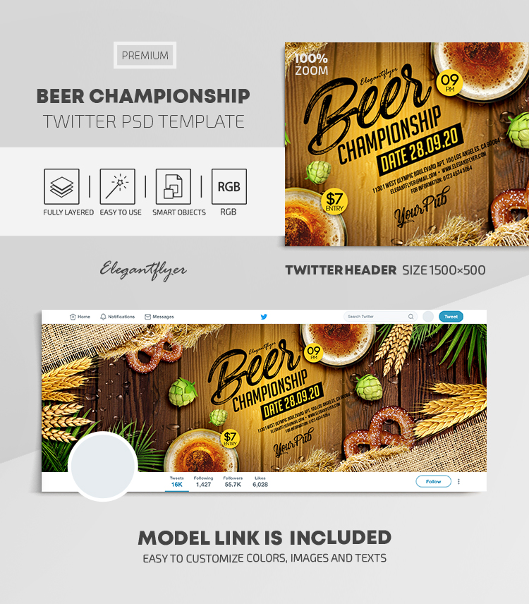 Beer Championship – Twitter Header PSD Template