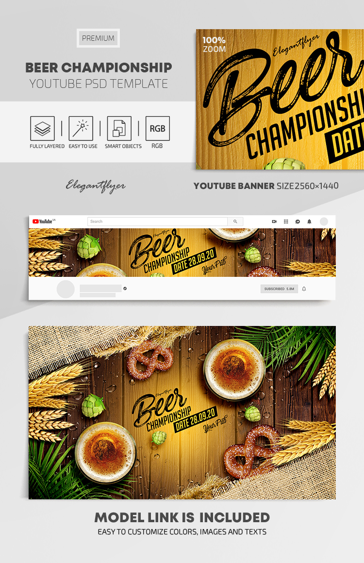 Beer Championship – Youtube Channel banner PSD Template