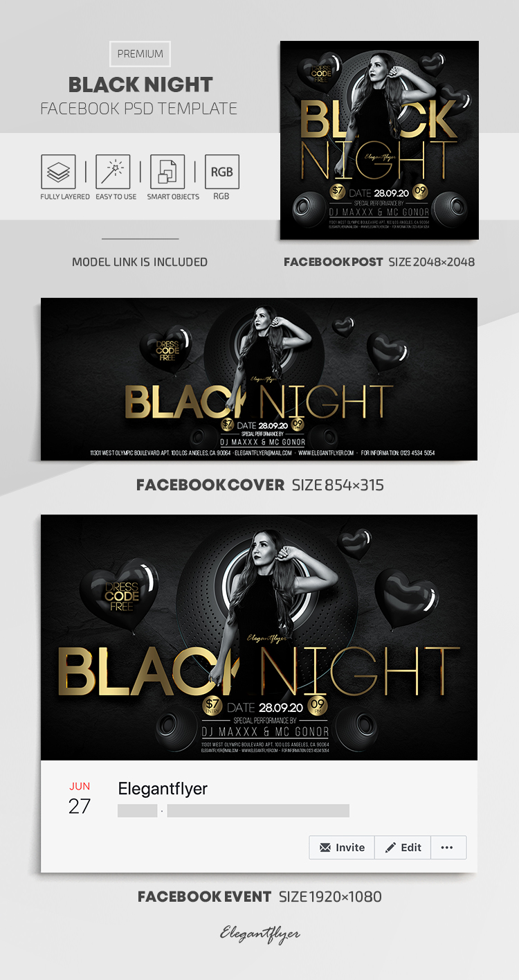 Black Night – Facebook Cover Template in PSD + Post + Event cover