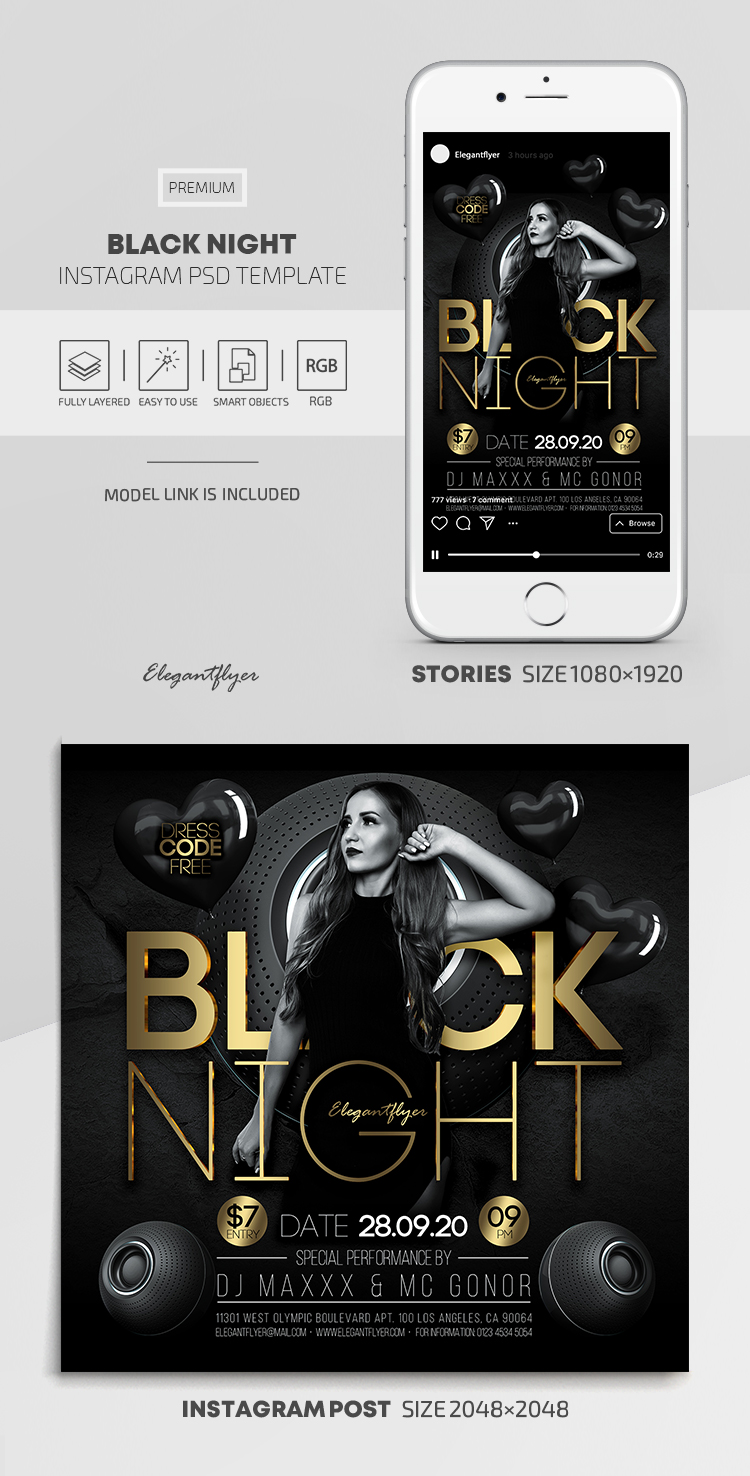 Black Night – Instagram Stories Template in PSD + Post Templates
