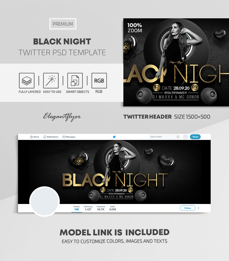 Black Night – Twitter Header PSD Template