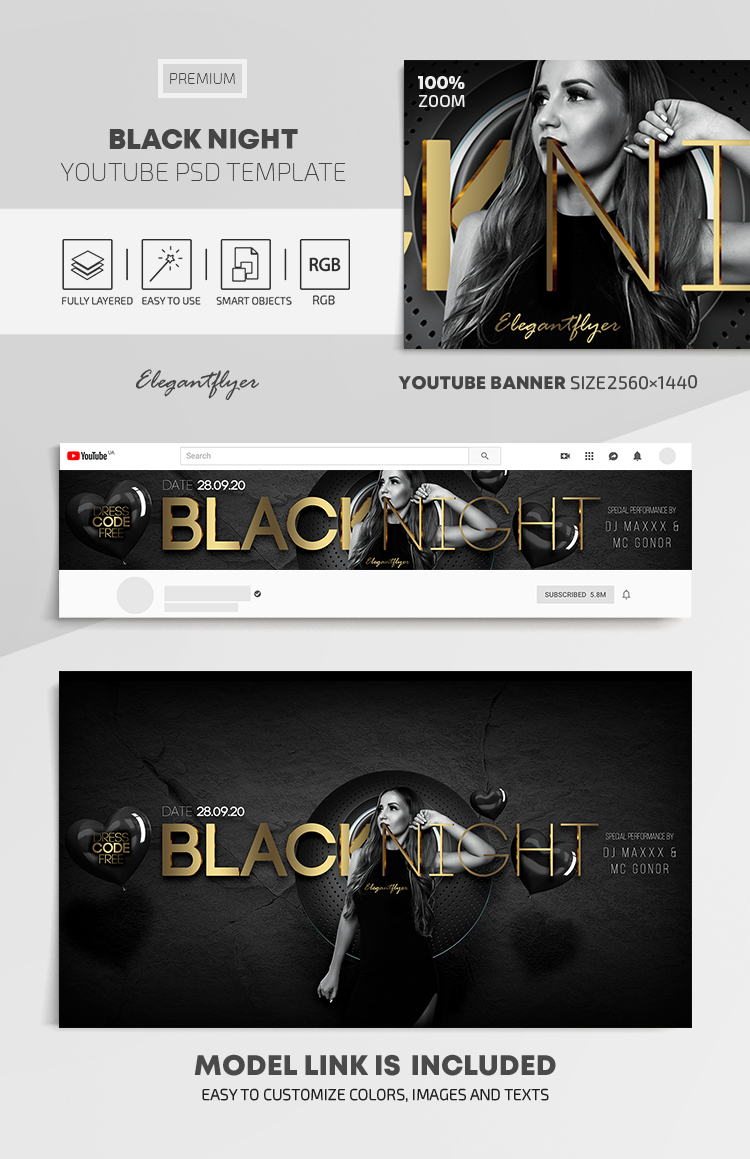 Black Night – Youtube Channel banner PSD Template