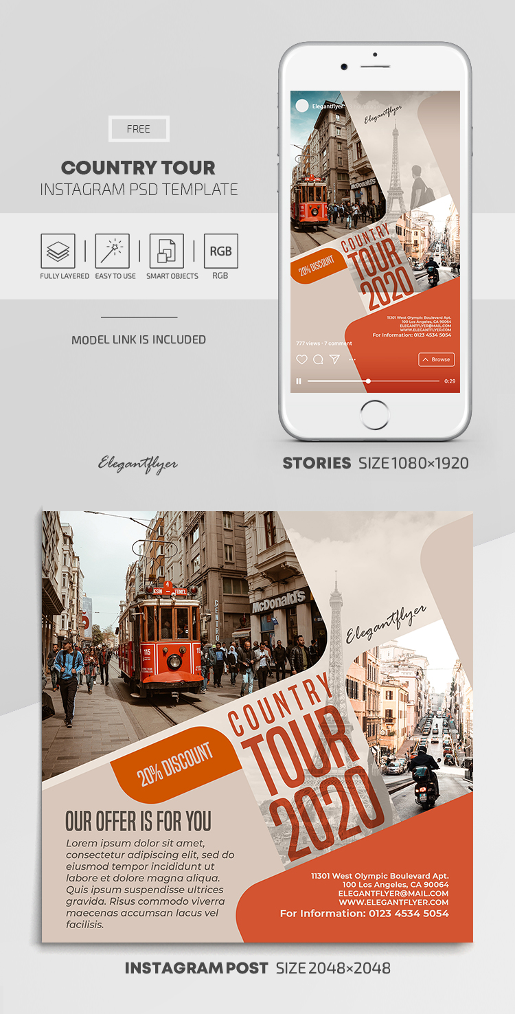 Country Tour – Free Instagram Stories Template in PSD + Post Templates