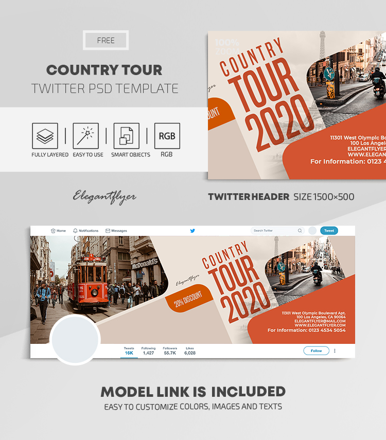 Country Tour – Free Twitter Header PSD Template