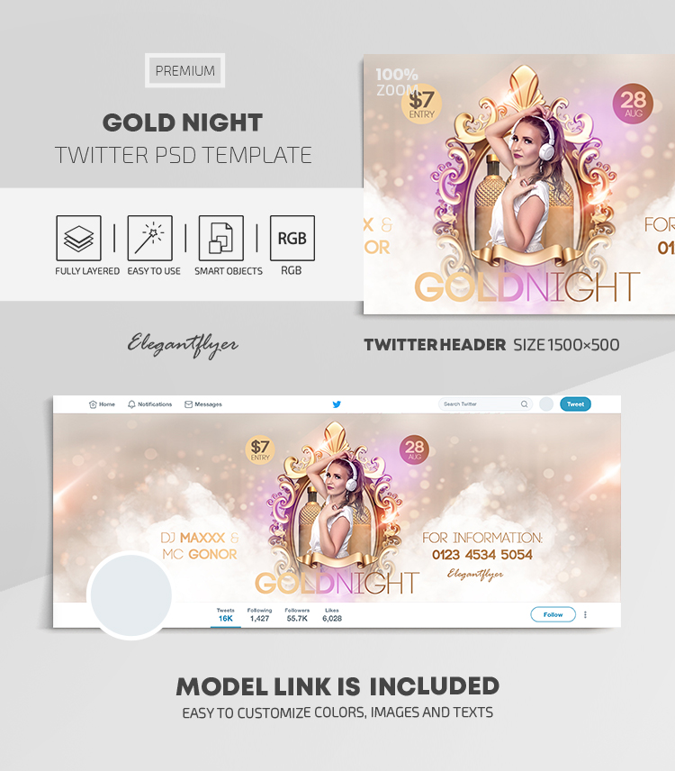 Gold Night – Twitter Header PSD Template