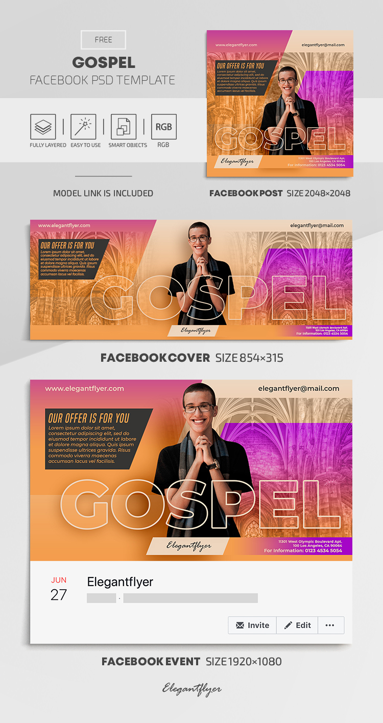 Gospel – Free Facebook Cover Template in PSD + Post + Event cover
