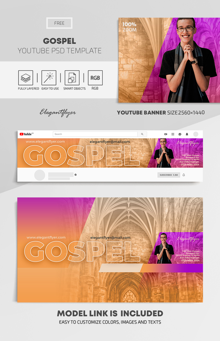 Gospel – Free Youtube Channel banner PSD Template