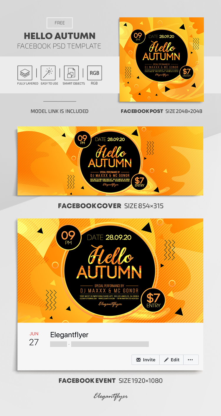 Hello Autumn – Free Facebook Cover Template in PSD + Post + Event cover