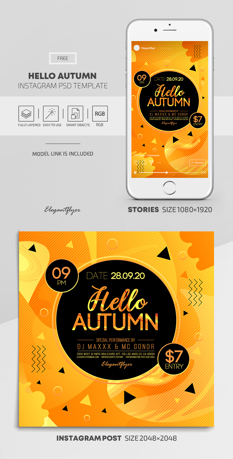 Hello Autumn – Free Instagram Stories Template in PSD + Post Templates