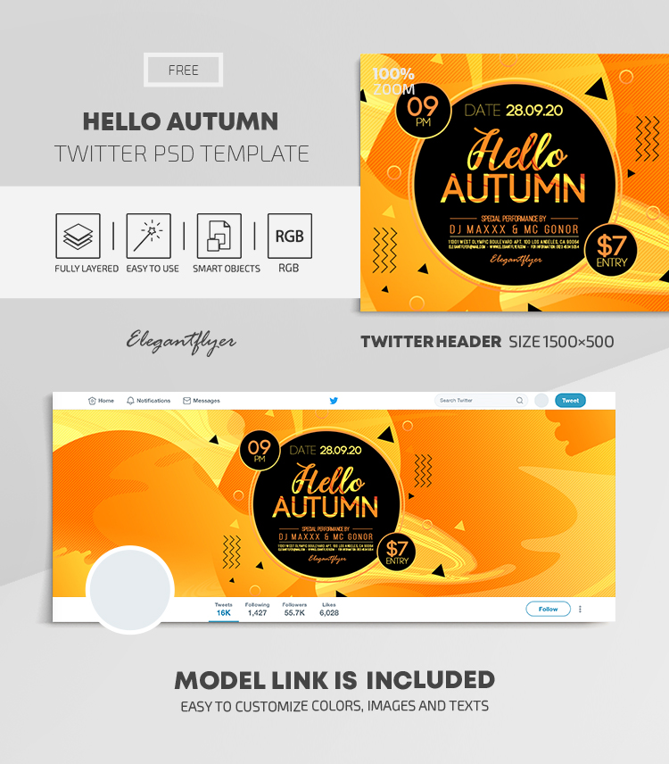 Hello Autumn – Free Twitter Header PSD Template