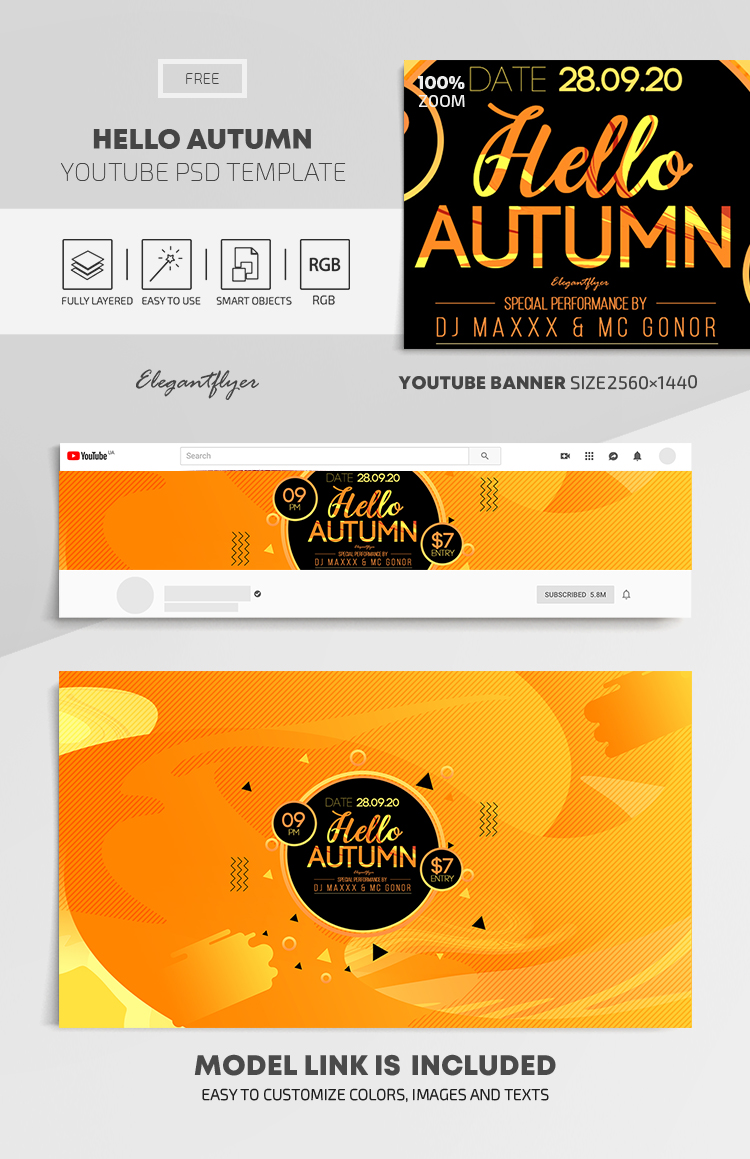 Hello Autumn – Free Youtube Channel banner PSD Template