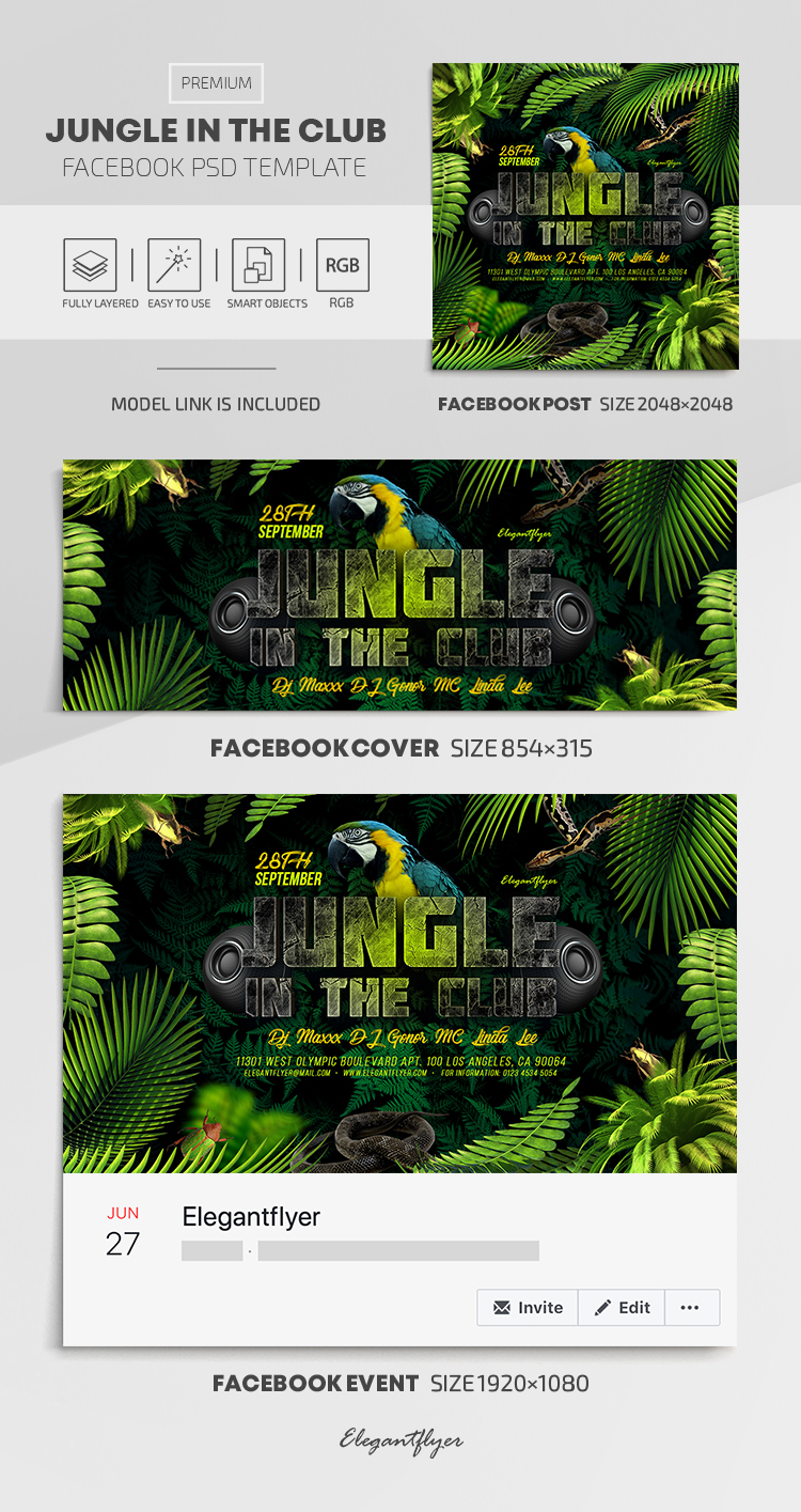 Jungle in the Club – Facebook Cover Template in PSD + Post + Event cover