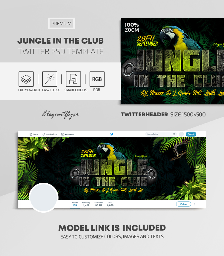 Jungle in the Club – Twitter Header PSD Template