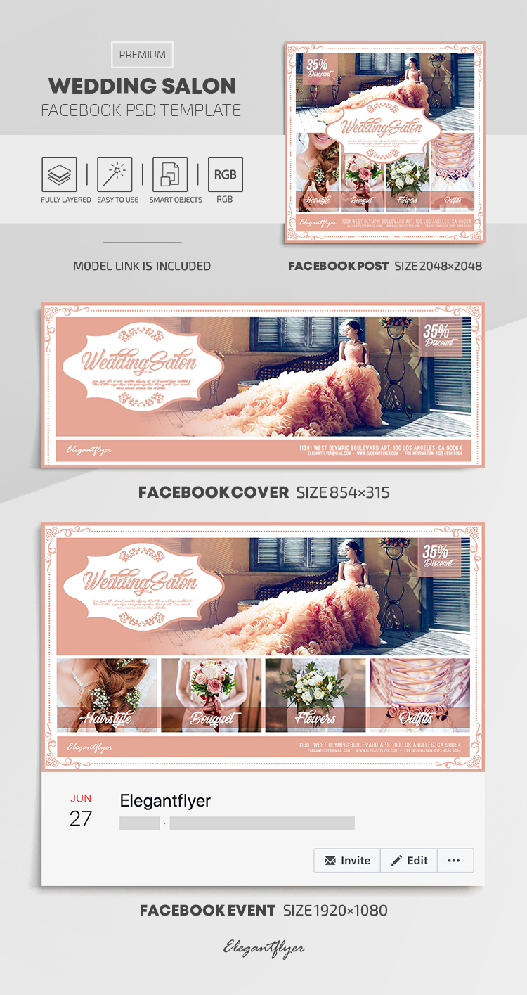 Wedding Salon – Facebook Cover Template in PSD + Post + Event cover
