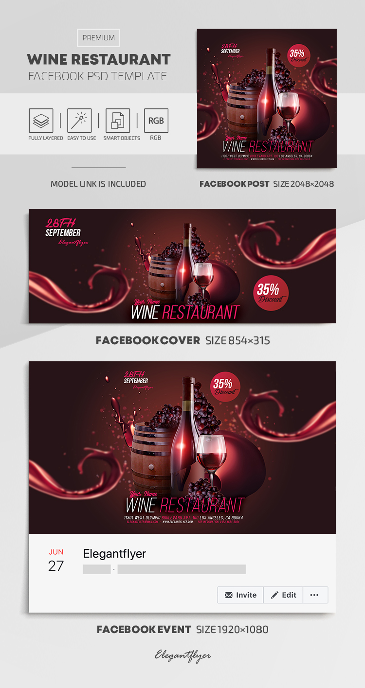 Wine Restaurant – Facebook Cover Template in PSD + Post + Event cover