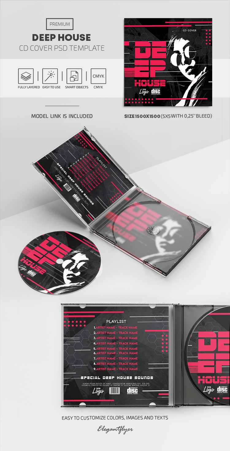 Deep House – Premium CD Cover PSD Template