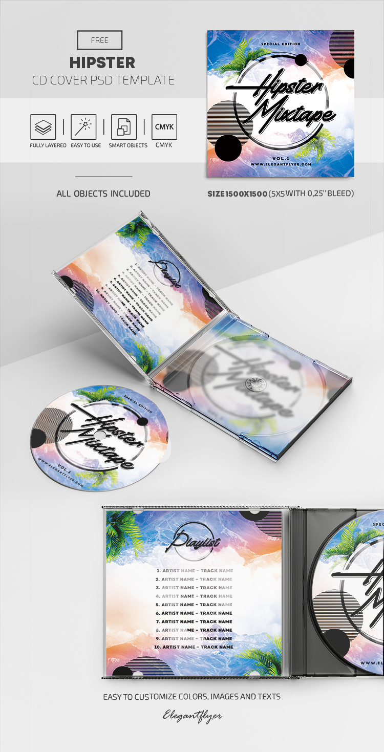 Hipster – Free CD Cover PSD Template in PSD