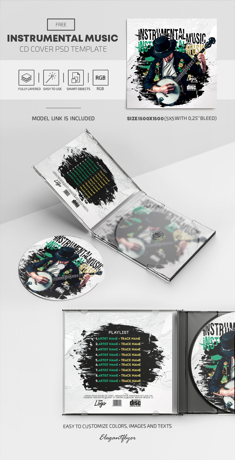 Instrumental Music – Free PSD CD Cover Template
